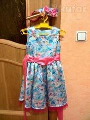 Нарядное платье,  балеро и туфли для девочки